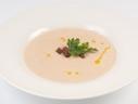 Cream of pumpkin soup with duck fillet